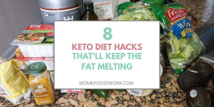 8 keto diet hacks that will keep the fat melting title box atop countertop of low carb food