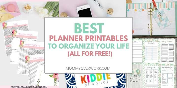 collage of free planner printables including monthly calendar, homemaking, weekly pages and more.