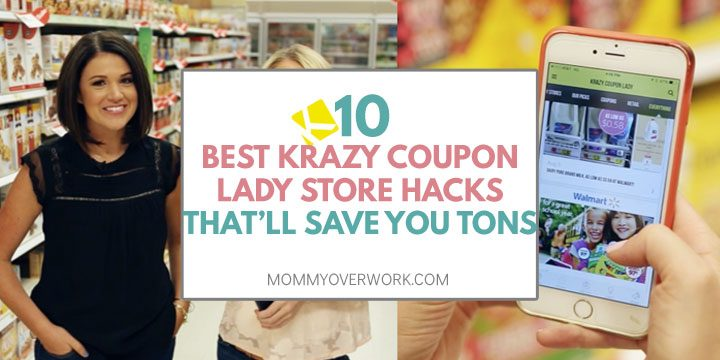 krazy coupon ladies in store and look at phone screen logged into app.