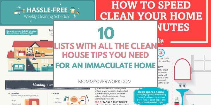collage of infographics to keep a clean house including weekly cleaning schedule and speed cleaning routine.