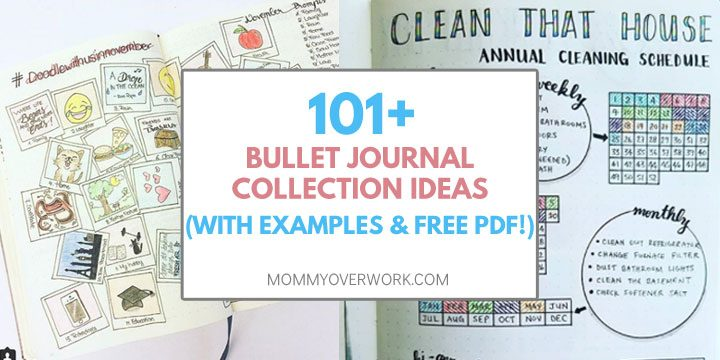 collage of bullet journal ideas to add to your bujo collection including doodle challenge and house cleaning schedule spreads.