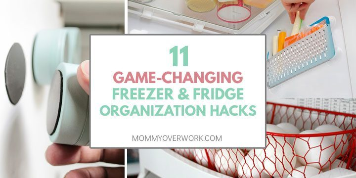 collage of freezer and fridge organization hacks including side pouches, door shelve baskets and magnetic tins.
