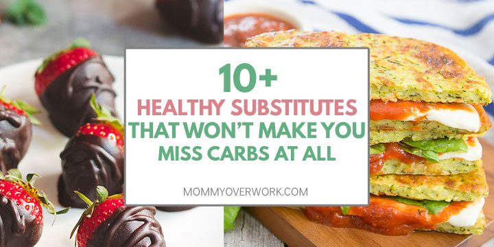 collage of healthy carb substitutes such as dark chocolate covered fruit for dessert and low carb bread.