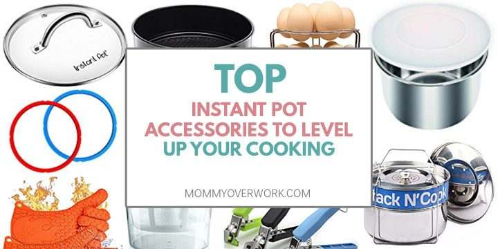 collage of most useful instant pot accessories including sealing rings, lid, pans, gloves and more.