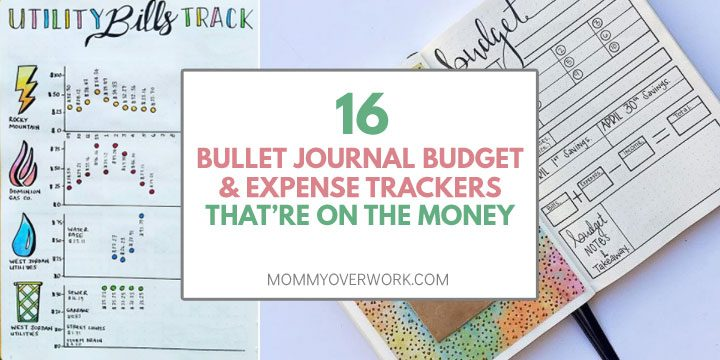 collage of bullet journal budget and expense tracker spreads including utility bills and budget overview.