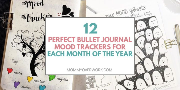 collage of bullet journal mood trackers for each month of the year including valentine hearts and halloween ghosts.