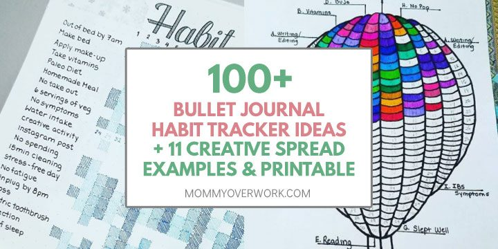 100 bullet journal habit tracker ideas, 11 creative spread examples and printable text atop collage of grid and balloon habit tracker pages.