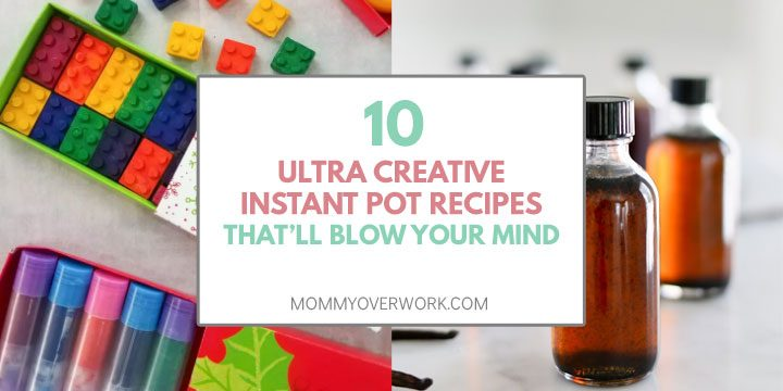 collage of unique, creative diy instant pot recipes including chapstick, crayons and extract.