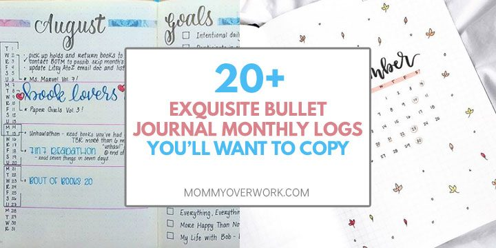 collage of bullet journal monthly logs including calendar covers and vertical timeline.