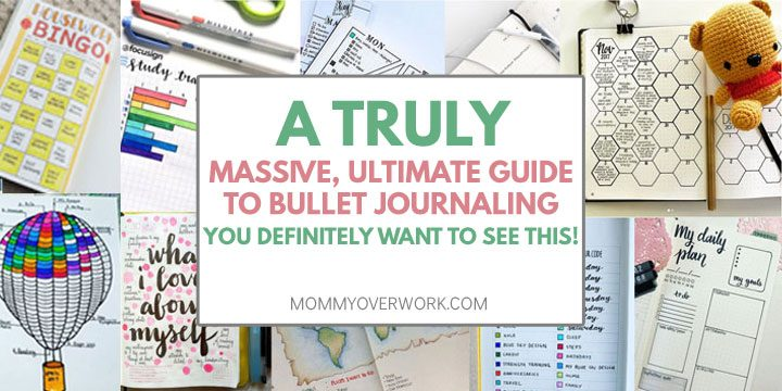 ultimate guide to bullet journaling with collage of collection ideas including weekly spread, habit tracker, self care, cleaning, and more.