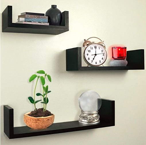 floating shelves staggered on the wall perfect for house, small bedroom, tiny apartment, college dorm.