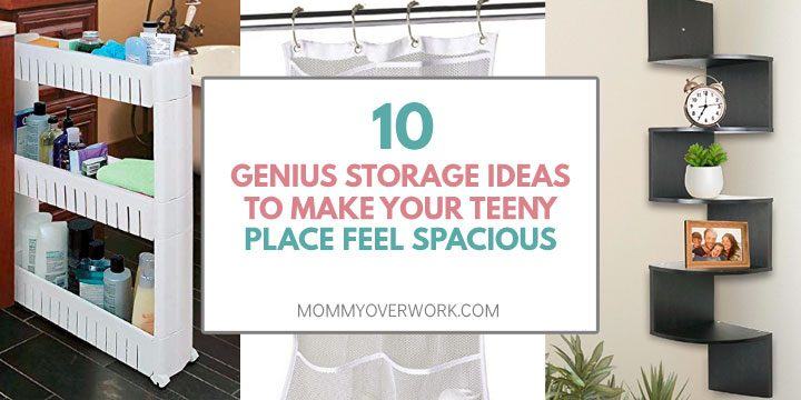 genius storage ideas for small spaces atop tower cart for narrow spaces, shower curtain storage, corner shelf collage.