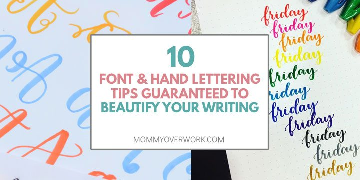 collage of bullet journal font and handlettering tips including brush calligraphy practice.