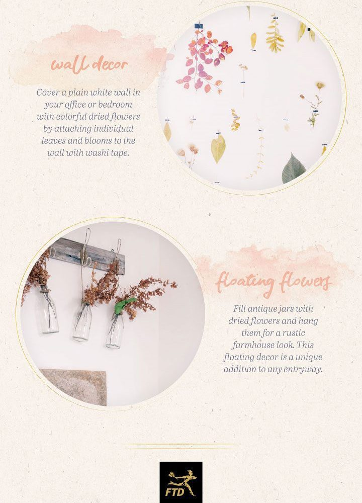 how to use dried flowers - wall decor with washi tape and above entryway.