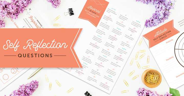 spread of self reflection questions and printable activities on tabletop.