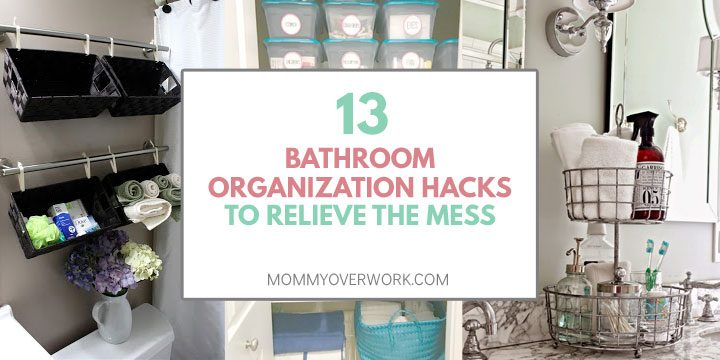collage of bathroom organization ideas and storage solutions including above toilet, linen closet, and countertop.