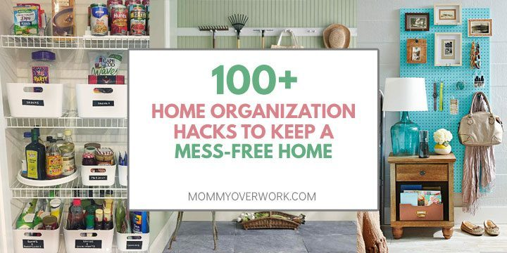 collage of home organization ideas including pantry, garage, and bedroom storage hacks.