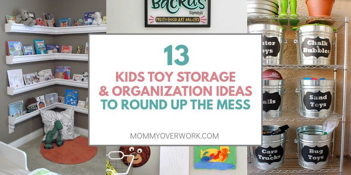collage of kids toy organization and storage ideas including corner bookshelf, bath toys, outdoor toys.