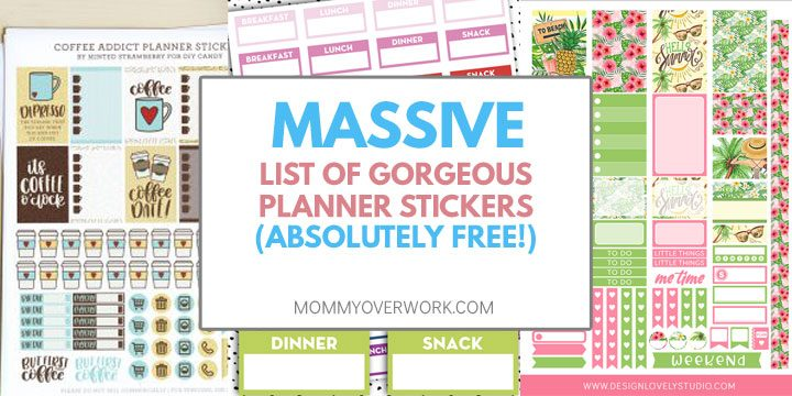 collage of free printable planner stickers for erin condren, happy planner, and more.